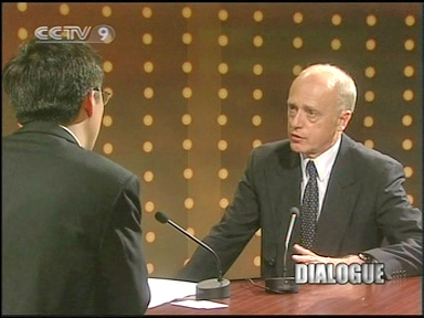 Hans Köchler in conversation with Yang Rui, anchor of the DIALOGUE show of CCTV News, in Beijing on 2 August 2004